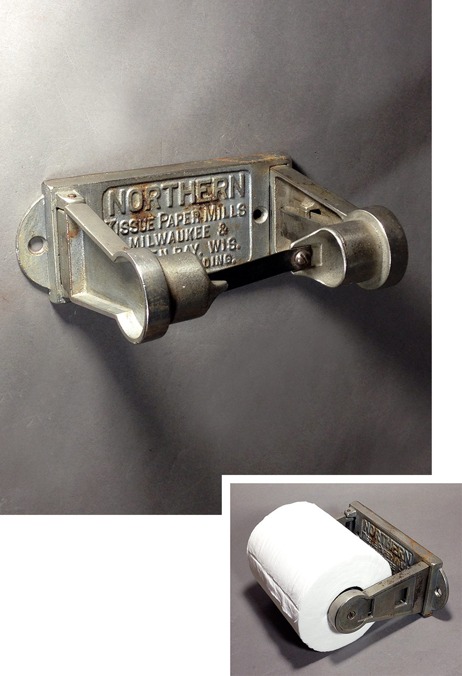 1900 39 S Cast Iron Mechanical Toilet Paper Holder Funny