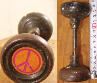 """画像1:  Antique """"Love&Peace"""" Steel Doorknob"""