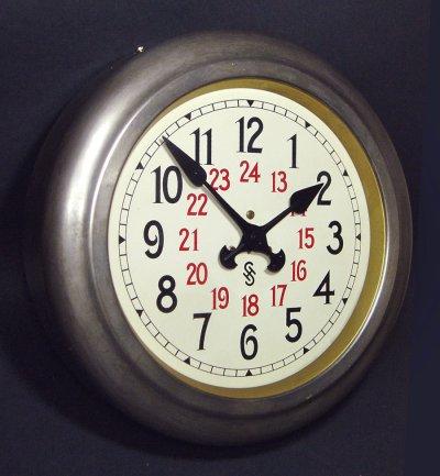 """画像1: 1920-30's Germany """"24 Hour Dial"""" Steel Wall Clock"""