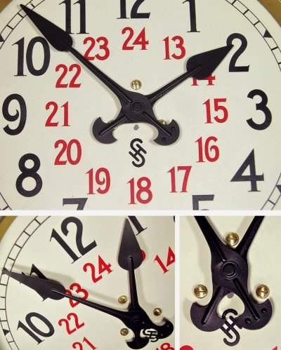 """画像2: 1920-30's Germany """"24 Hour Dial"""" Steel Wall Clock"""