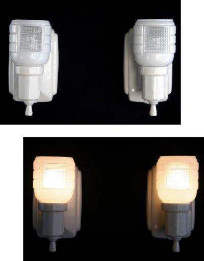 """画像2: 1930-40's """"2-way"""" Porcelain Bathroom Lamp【PAIR】"""