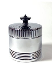 画像1: 1930's Art Deco【BLACK × CHROME】Lidded Jar / Container (1)