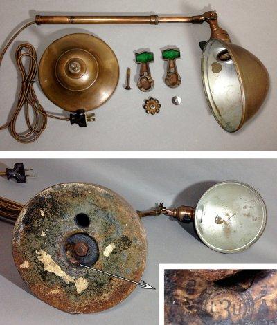"""画像3: 1910-20's """"O.C.White"""" Brass Telescopic Desk Lamp 【PROPERTY - B of E - N.Y.CITY】"""