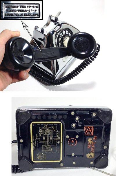画像3: - 実働品 - 1940-early 1950's U.S.ARMY Chromed Telephone 【BLACK × SILVER】