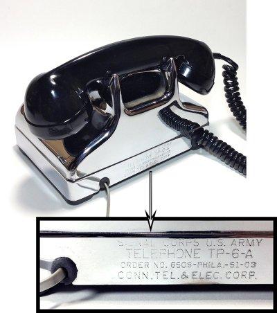 画像2: - 実働品 - 1940-early 1950's U.S.ARMY Chromed Telephone 【BLACK × SILVER】