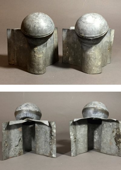"画像1: 1920-40's ""Roof Crest"" Galvanized Steel End Cap Balls"