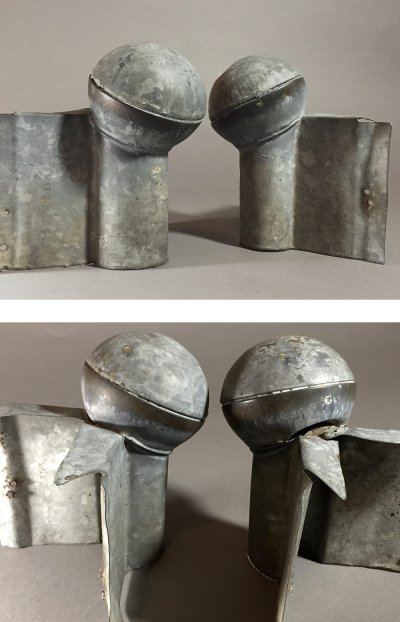 "画像2: 1920-40's ""Roof Crest"" Galvanized Steel End Cap Balls"