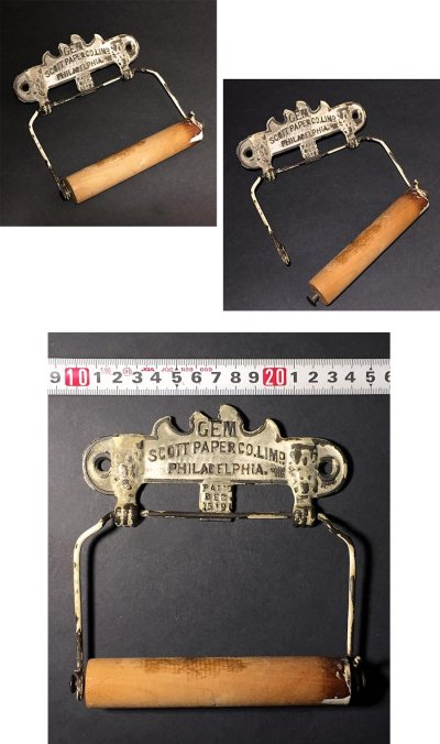 """画像3: PAT.1891 """"GEM"""" Cast Iron Toilet Paper Holder【Scott Paper Co.】"""