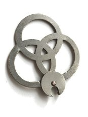 "画像4:  【Rare】 Nickeled Brass ""Clover"" Key Ring (4)"