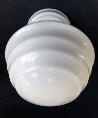 画像4:  1920's【Art Deco】Milk Glass School House Ceiling Light  (4)