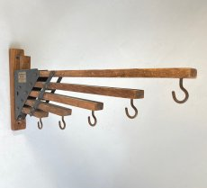 "画像3: 1920-30's ""Holds more Hanger"" Wood&STEEL Folding Hanger (3)"
