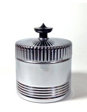 画像3: 1930's Art Deco【BLACK × CHROME】Lidded Jar / Container (3)