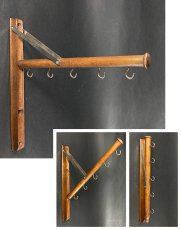 "画像1: 1920's  ""Wood&Seel"" Wall Mount Folding Hanger Rack (1)"