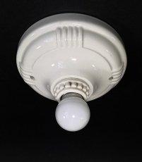画像1: 1930-40's Art Deco Porcelain Bare Bulb Light (1)