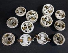 画像3: 1910-20's Porcelain Rosette Lamp parts  【6個セット】 (3)
