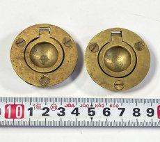 """画像6: 1920-40's Cast Brass """"Cabinet"""" pull handles  【2-sets + マイナスビス付き】 (6)"""