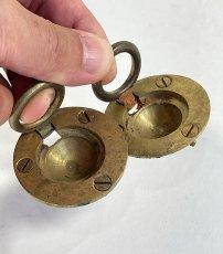 """画像4: 1920-40's Cast Brass """"Cabinet"""" pull handles  【2-sets + マイナスビス付き】 (4)"""