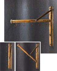 """画像1: 1920's  """"Wood&Seel"""" Wall Mount Folding Hanger Rack (1)"""
