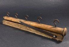 """画像3: 1920's  """"Wood&Seel"""" Wall Mount Folding Hanger Rack (3)"""