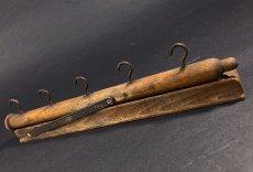 """画像2: 1920's  """"Wood&Seel"""" Wall Mount Folding Hanger Rack (2)"""