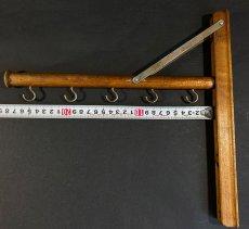 """画像8: 1920's  """"Wood&Seel"""" Wall Mount Folding Hanger Rack (8)"""