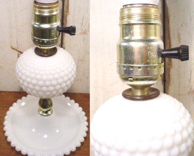 """画像2: 50-60's """"Blue cloth Shade"""" Hobnail Table Lamp"""