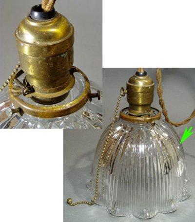 """画像1: 1920-30's """"HOLOPHANE"""" Ribbed Glass Pendant Lamp"""