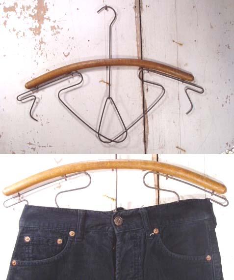 """画像1:  1900-20's Wood """"Wire Action"""" Hanger (1)"""