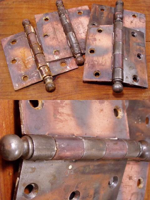 """画像1: 1910-30's Antique Cast Iron """"Big"""" Hinge (1)"""
