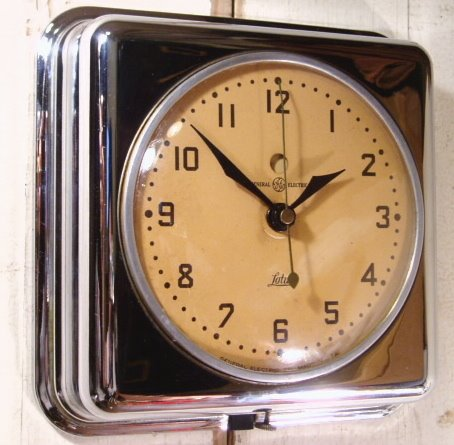 "画像1: 40's G.E. ""Chrome"" Antique Kitchen Clock (1)"
