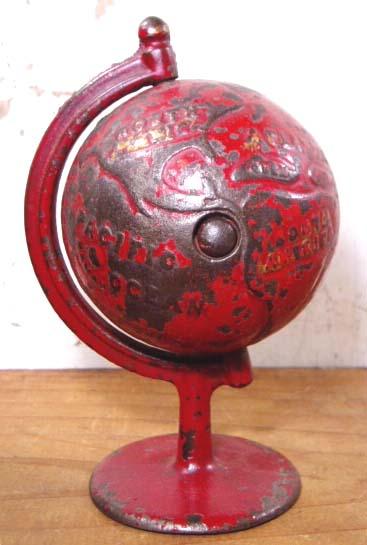 """画像1: 1900's """"CAST IRON"""" GLOBE BANK 【RED】 (1)"""
