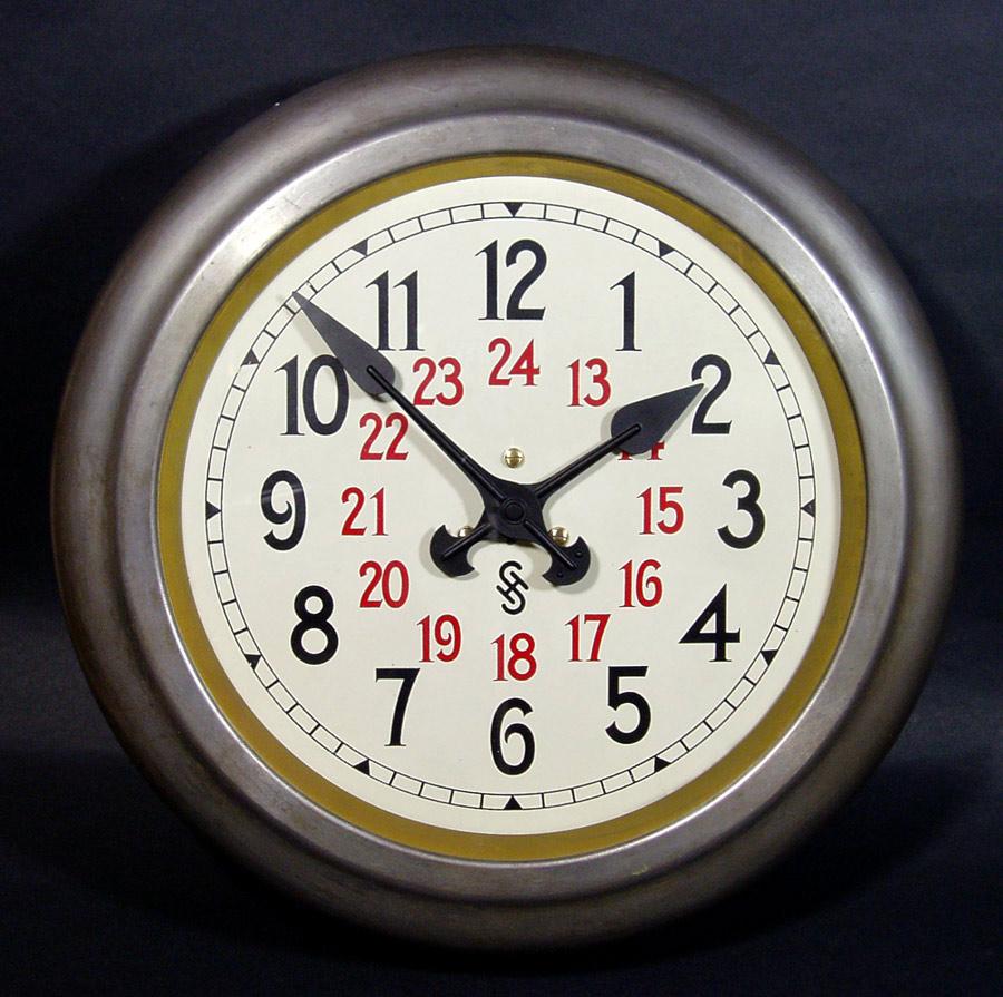 """画像1: 1920-30's Germany """"24 Hour Dial"""" Steel Wall Clock (1)"""