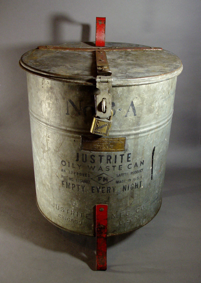 "画像1: 1930's ""JUSTRITE"" Oily Waste Can (1)"