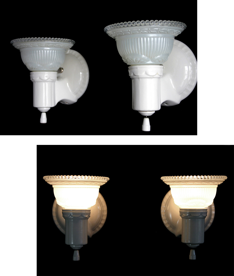 """画像1: 1930-40's """"2-way"""" Porcelain Bathroom Lamp 【PAIR】 (1)"""