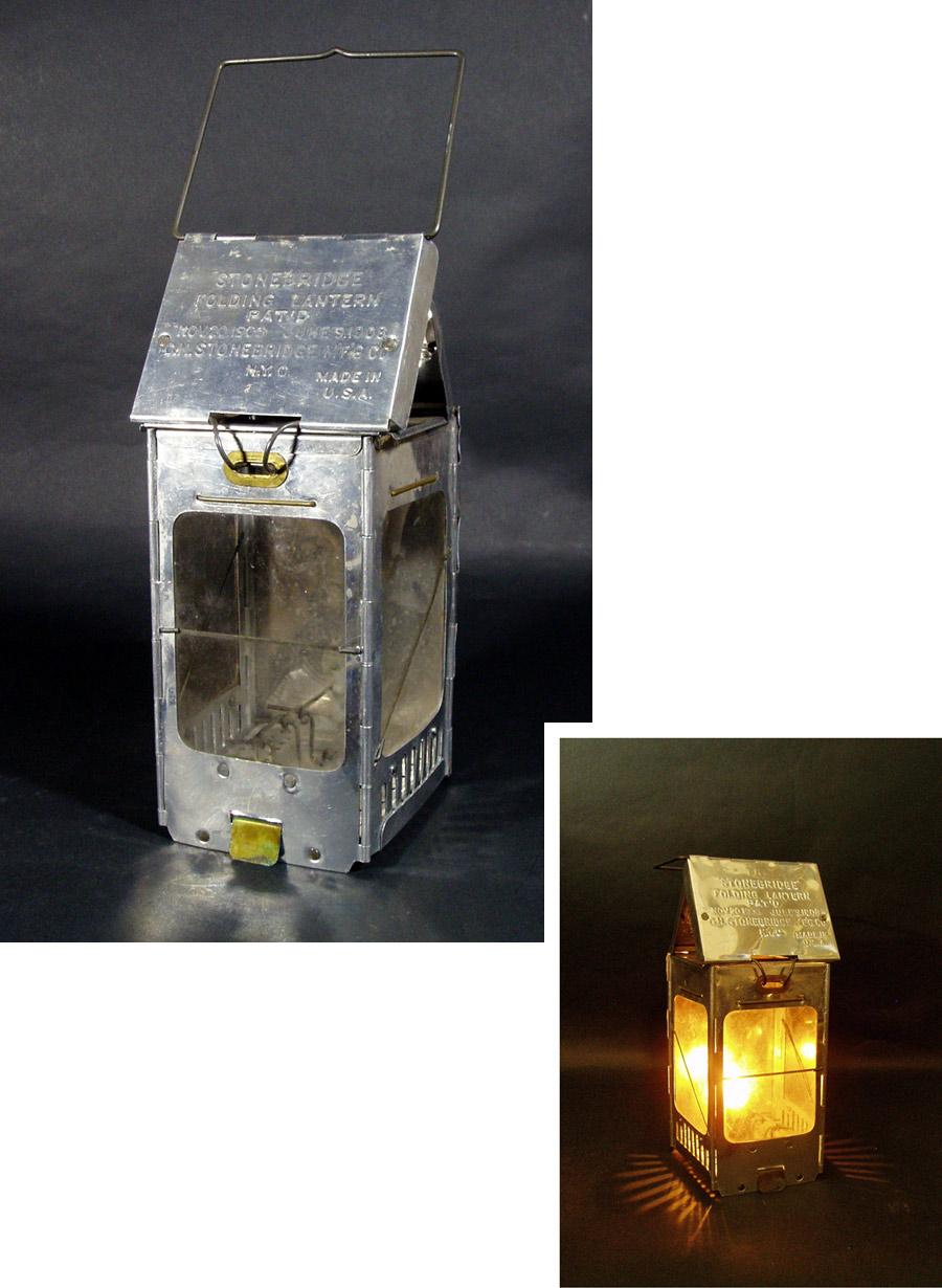 """画像1: 1910-20's """"Aluminum"""" Folding Candle Lantern (1)"""
