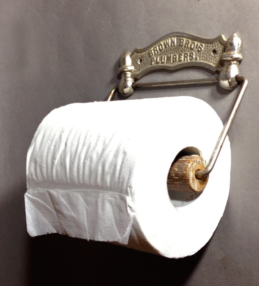 1880 39 S Advertising Cast Iron Toilet Paper Holder Funny