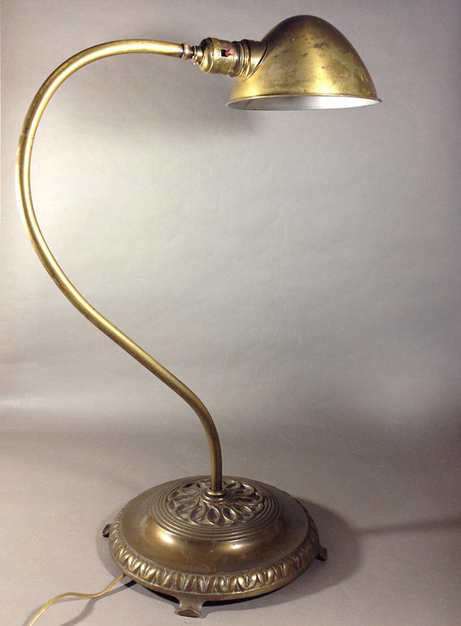 """画像1: 1930's """"Swan Neck"""" Brass Table Lamp (1)"""