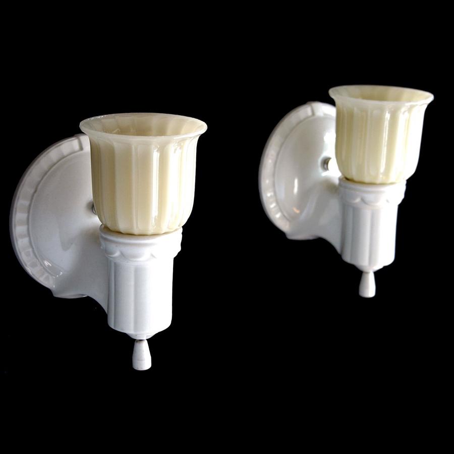 """画像1: 1930-40's """"2-way"""" Porcelain Bathroom Lamp【PAIR】 (1)"""