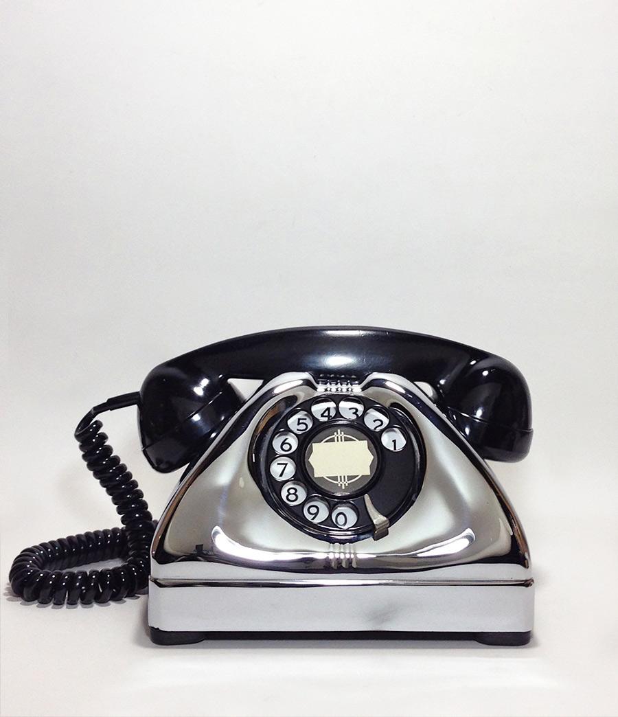 画像1: - 実働品 - 1940-early 1950's U.S.ARMY Chromed Telephone 【BLACK × SILVER】 (1)