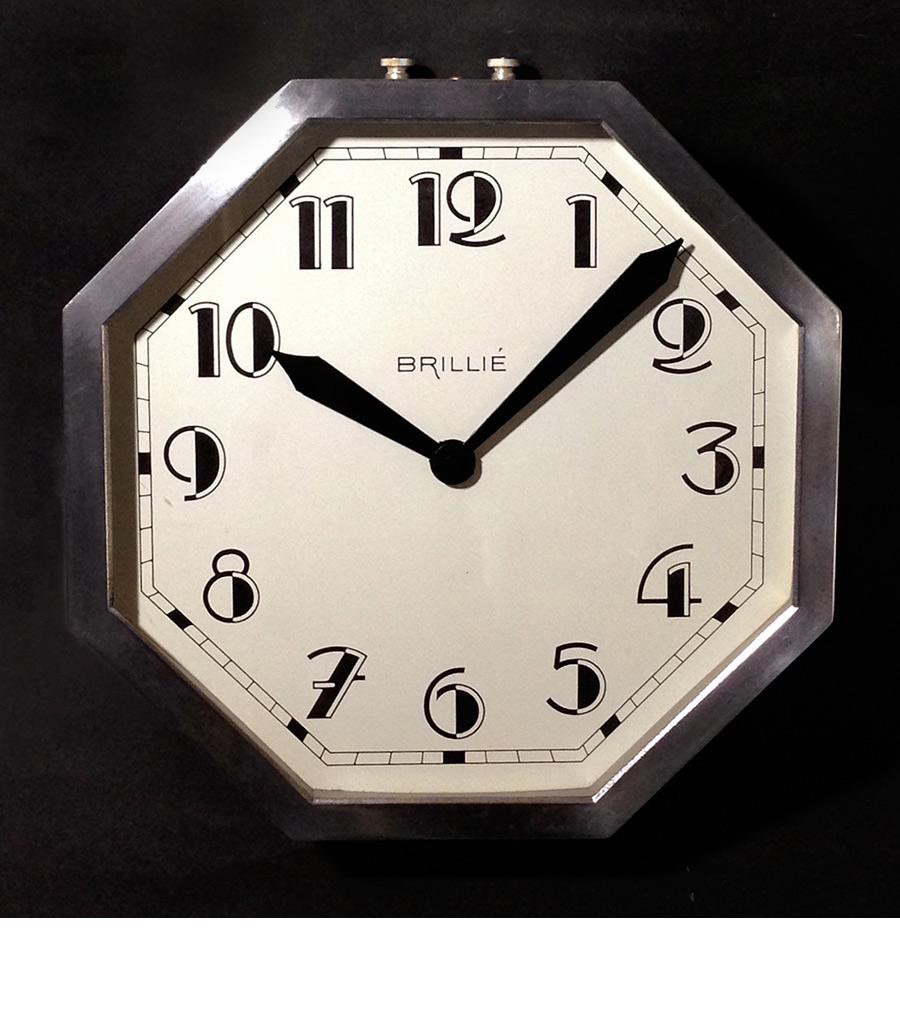 """画像1: 1930's French """"Art Déco"""" Octagon Wall Clock (1)"""