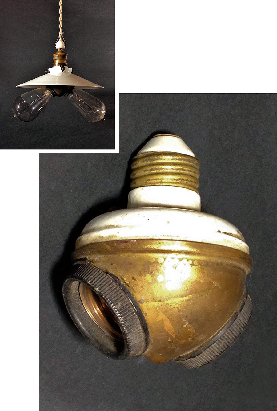 """画像1: 1910-30's """"Benjamin"""" Double Socket Splitter (1)"""