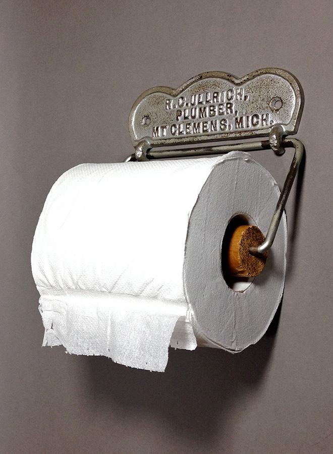 """画像1: 1900's """"ADVERTISING"""" Cast Iron Toilet Paper Holder  (1)"""