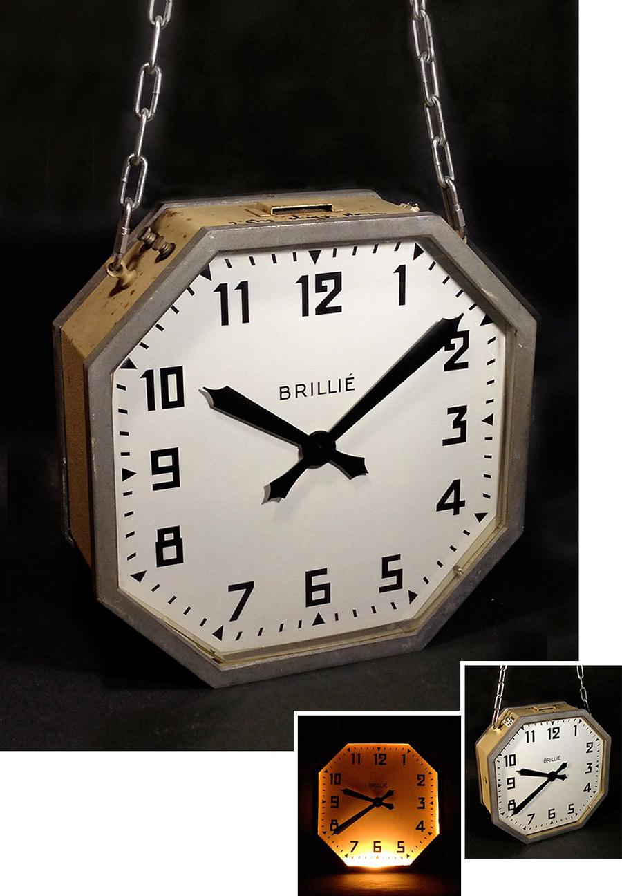 """画像1: 1940's """"Double-Face&Light"""" BRILLIE French Art Déco Clock【大きいです】  (1)"""