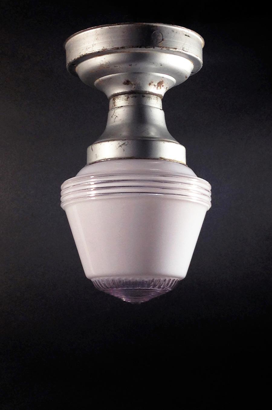 """画像1: 1950's """"Art-Deco"""" Milk Glass Ceiling Lamp (1)"""