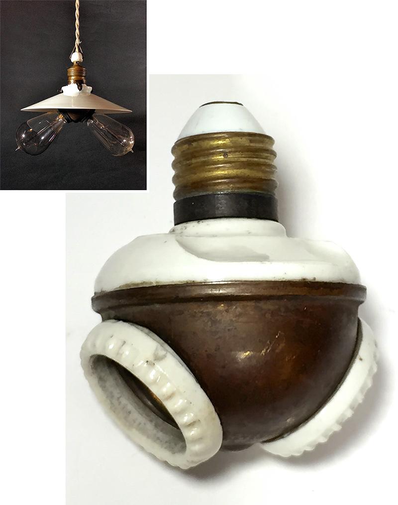 """画像1: 1900-10's """"Benjamin"""" Double Socket Cluster (1)"""
