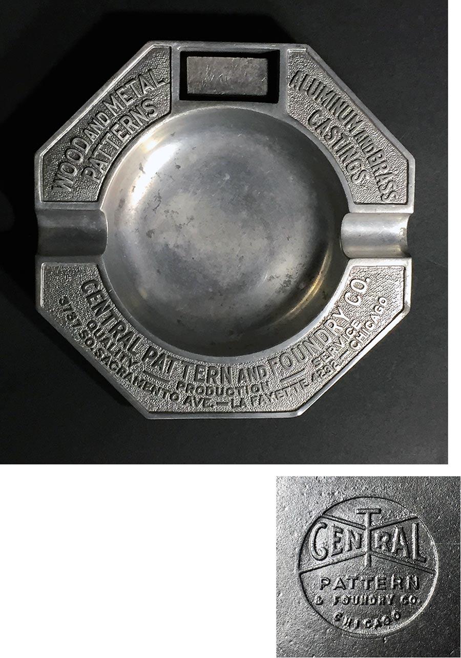"""画像1: 1920-30's """"ADVERTISING"""" Cast Aluminum Ashtray (1)"""