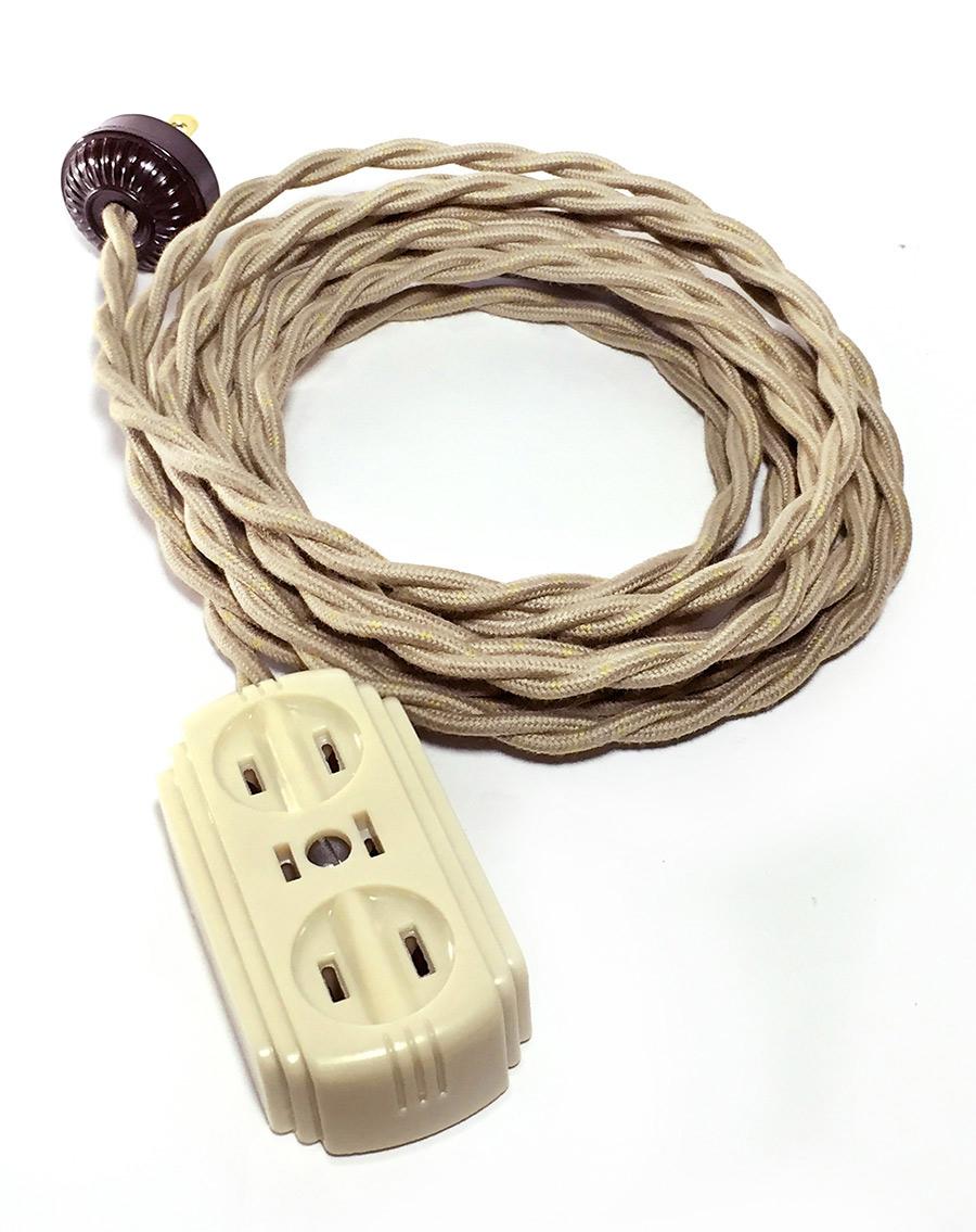 画像1: 1940's【4m】Extension Cord + Bakelite 3-Outlet【*残り3台*】 (1)