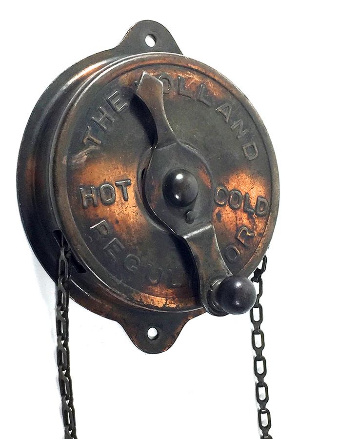 """画像1: 1900-20's Industrial Decor """"HOT-COLD"""" Mechanical Thermostat (1)"""