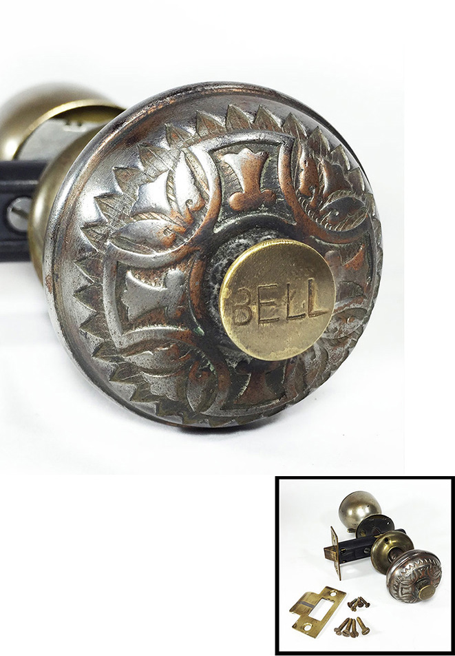 画像1:  Early-1900's【BELL】built-in Bell Doorknob  (1)