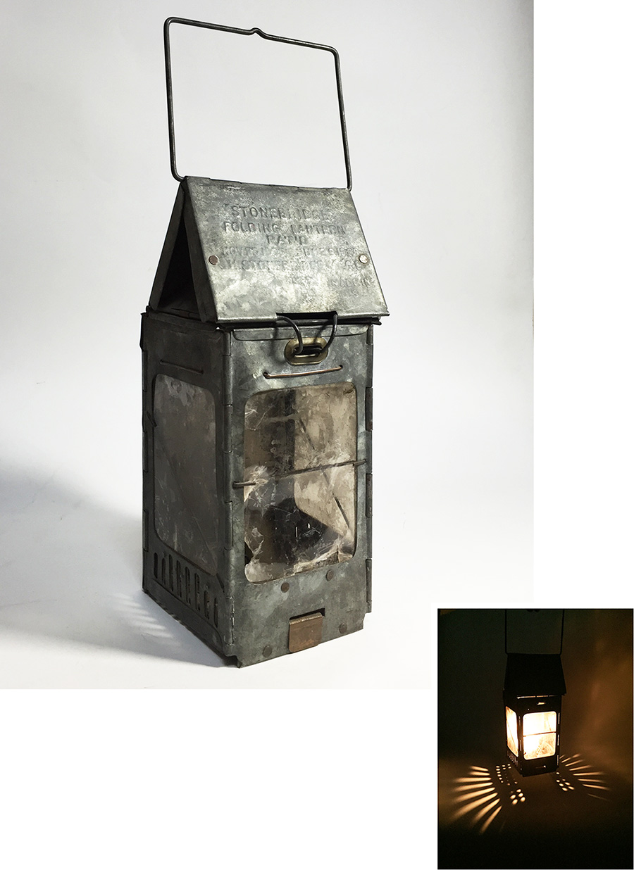 "画像1: 1910-20's ""Galvanized Steel"" Folding Candle Lantern (1)"